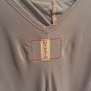 Gray-Green silk slip drop waist dress